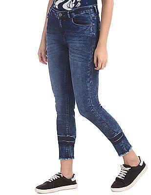 SUGR Blue Frayed Hem Washed Jeans