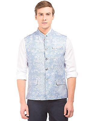 Arvind Mandarin Collar Printed Bandi