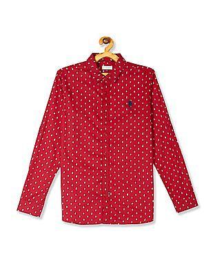 U.S. Polo Assn. Kids Red Boys Floral Print Cotton Shirt
