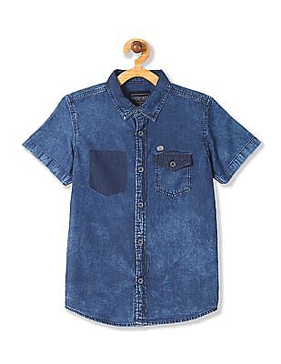Cherokee Boys Short Sleeve Chambray Shirt