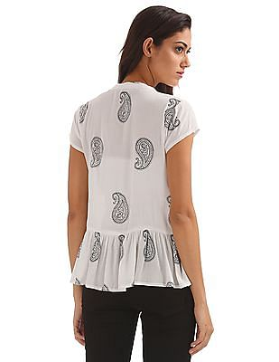 Bronz Paisley Print Crinkled Top