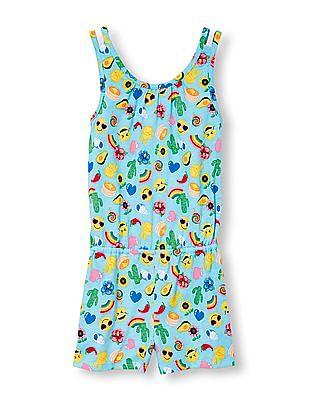 The Children's Place Girls Blue Sleeveless Emoji Print Romper
