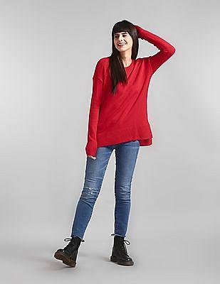 GAP Red Crewneck Pullover Sweater Tunic