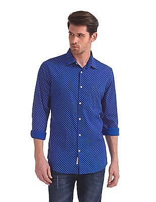 Arvind Modern Slim Fit Techno Cool Shirt