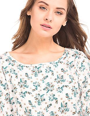 Elle Floral Print Viscose Shift Dress