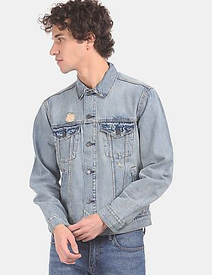 GAP Men Blue Faded Denim Jacket