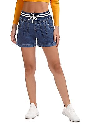 Flying Machine Women High Rise Washed Denim Shorts