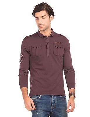 Ed Hardy Solid Long Sleeve Polo Shirt