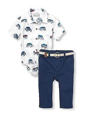 The Children's Place Baby Short Sleeves Truck Print Poplin Button-Down Bodysuit And Belted Pants Set