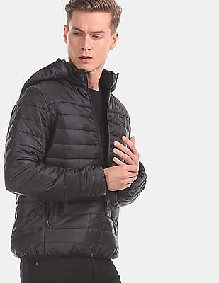 Flying Machine Men Black Detachable Hood Quilted Jacket
