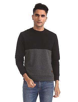 Flying Machine Crew Neck Colour Blocked Sweatshirt