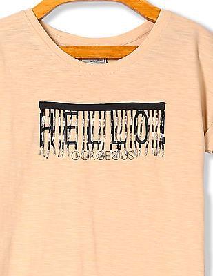 Cherokee Girls Printed Bead Embellished T-Shirt