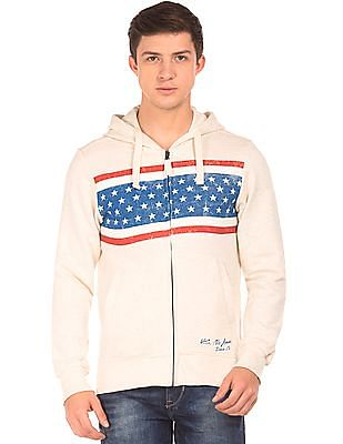 U.S. Polo Assn. Denim Co. Distressed Print Zip Up Sweatshirt