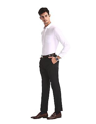 Excalibur White Slim Fit French Placket Shirt