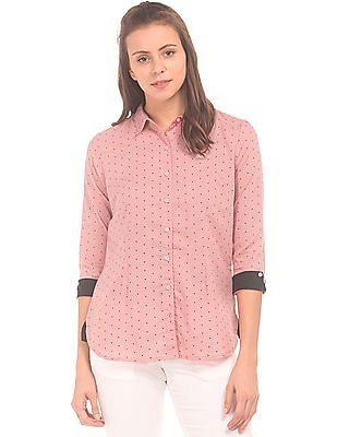 Cherokee Contrast Cuff Printed Shirt