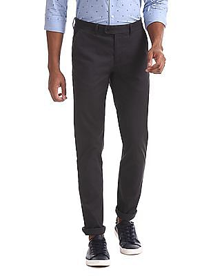 Arrow Sports Grey Chrysler Slim Fit Cotton Stretch Trousers