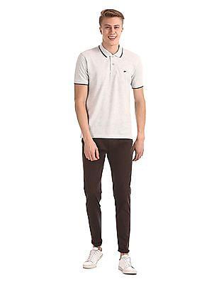 Ruggers Grey Short Sleeve Tipped Polo Shirt