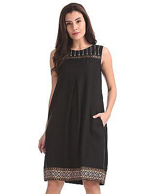 Bronz Printed A-Line Dress