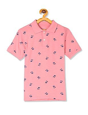 The Children's Place Pink Boys Short Sleeve Palm Print Polo