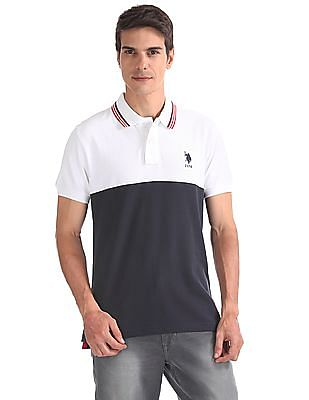 U.S. Polo Assn. Cut And Sew Panel Colour Block Polo Shirt