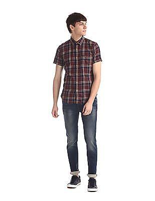 U.S. Polo Assn. Denim Co. Red Spread Collar Check Shirt