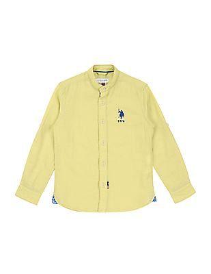 U.S. Polo Assn. Kids Boys Mandarin Collar Cotton Linen Shirt