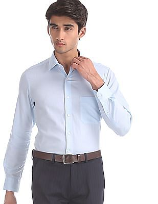 Arrow Blue Semi Cutaway Collar Patterned Shirt