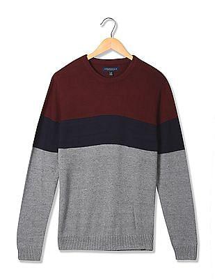 Aeropostale Crew Neck Colour Block Knit Sweater