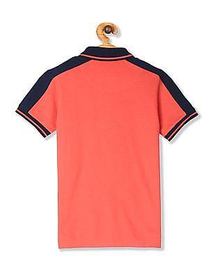 FM Boys Orange Boys Tipped Pique Polo Shirt