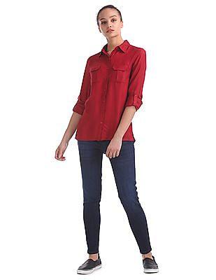 Flying Machine Women Long Sleeve Solid Shirt