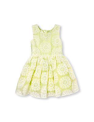 The Children's Place Girls Green Sleeveless Daisy Lace Dress