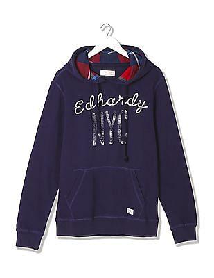Ed Hardy Printed Front Hooded Sweatshirt