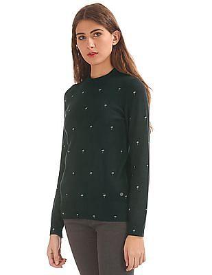 U.S. Polo Assn. Women Palm Tree Print Round Neck Sweater