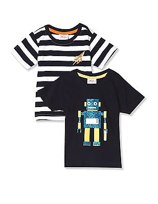 Donuts Assorted Boys Crew Neck T-Shirt - Pack Of 2