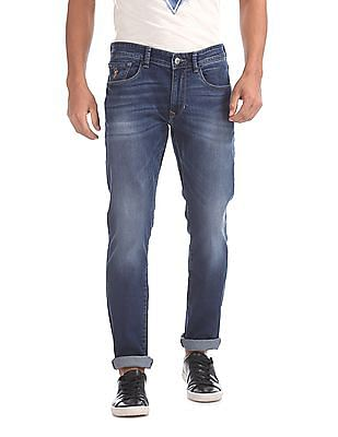 U.S. Polo Assn. Denim Co. Slim Straight Fit Whiskered Jeans