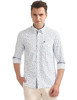Arrow Sports Printed Cotton Linen Shirt