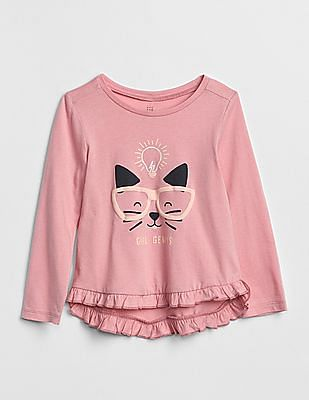 GAP Baby Ruffle Graphic Long Sleeve T-Shirt