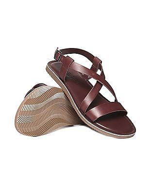 U.S. Polo Assn. Cross Strap Leather Sandals