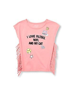 The Children's Place Girls Short Sleeve Side Fringe Embellished Graphic Top