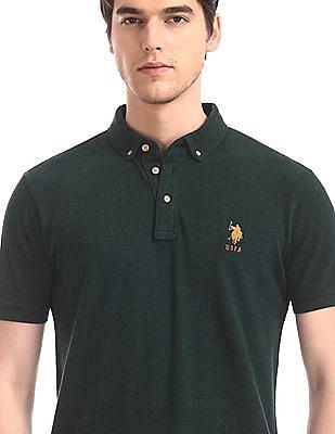 U.S. Polo Assn. Green Button Down Pique Polo Shirt