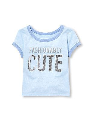 The Children's Place Toddler Girl Short Sleeve Embellished Graphic Ringer Tee