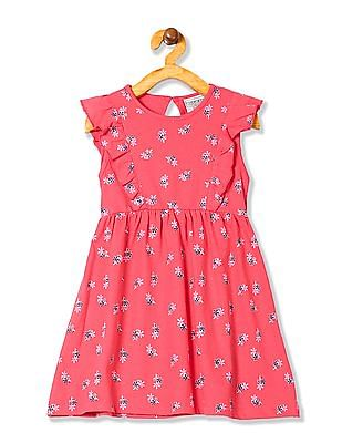 Cherokee Girls Printed Fit And Flare Dress
