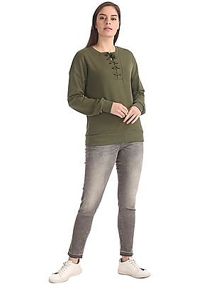 U.S. Polo Assn. Women Regular Fit Lace Up Neck Sweatshirt