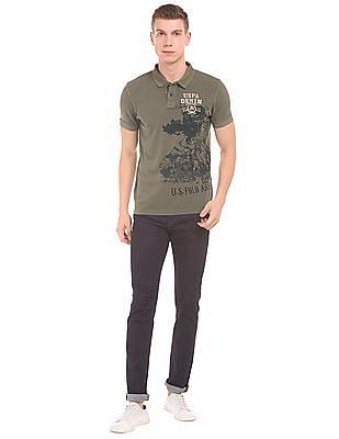 U.S. Polo Assn. Denim Co. Printed Muscle Fit Polo Shirt