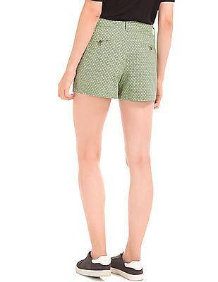 GAP Women Green Print Summer Shorts