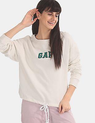 GAP White Logo Tie-Hem Crewneck Sweatshirt
