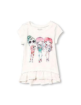 The Children's Place Girls Short Sleeve Embellished Graphic Chiffon Ruffle Peplum Top