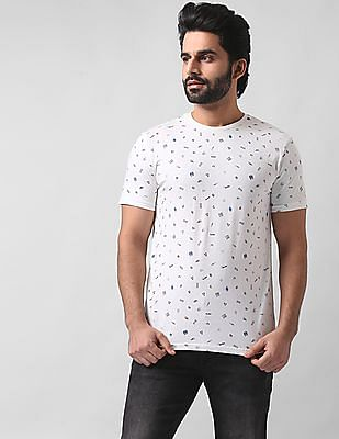 True Blue Slim Fit Printed T-Shirt