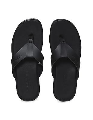 U.S. Polo Assn. Black V-Strap Solid Sandals