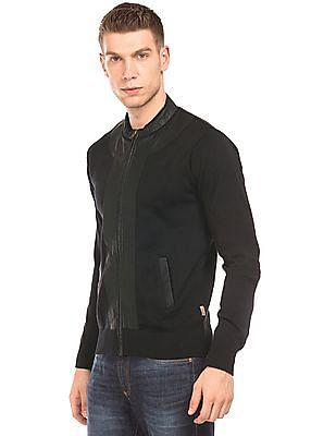 Flying Machine Pleather Panel Knit Jacket